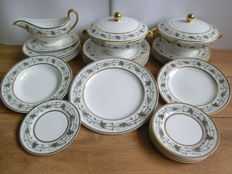 Spode Copeland Gray Grapes & Leaves, Gold Bands - Thirty piece dinner tableware set