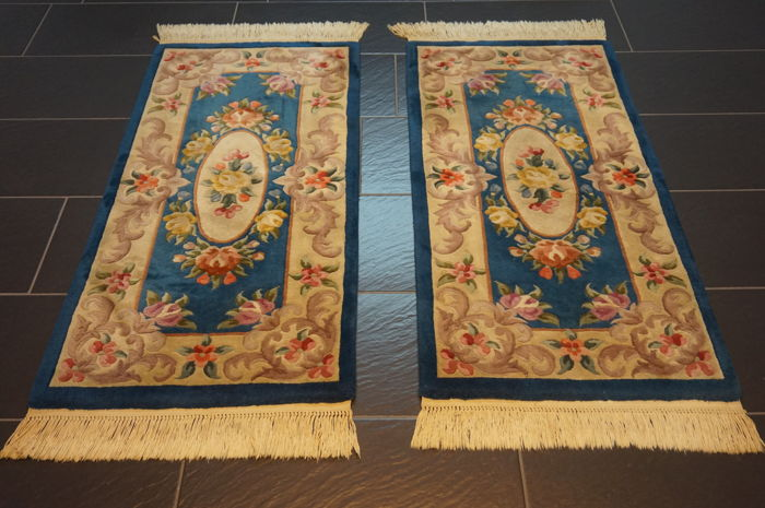 Magnificent China Art Deco Oriental carpet set two bridges Made in China  60X130cm