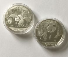 "China – 10 yuan 2012 and 2013 'Panda"" – 2 x 1 oz silver"