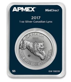 Canada: 5 dollars 2017 'Predator Series Lynx' 1 oz of silver in Mint Direct single quality