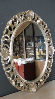 Large Venetian mirror with openwork ornament - hand gilded - silver coloured