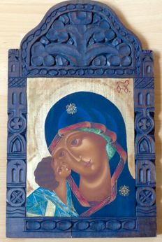 Antique icon - Mary with child - original painting on wood