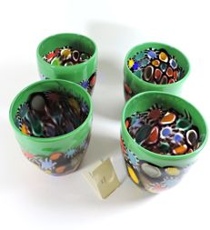 Murano - set of 4 goti with multicoloured murrine