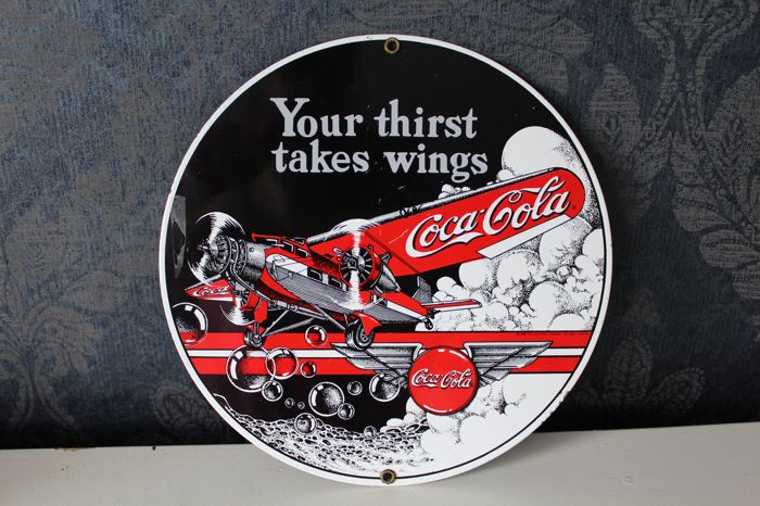 Emaille bord - Coca Cola - Your thirst takes wings - 1994