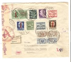 Italy, 1944 – Emergency postage with postage due, parcel mail, airmail and express mail stamps on letter from Lagundo to Lucerne
