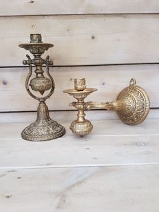 2 exclusive solid bronze ship candlesticks