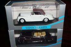 Minichamps - Scale 1/43 - Lot with 2 models: Mercedes-Benz 300 S cabriolet - Dark red & Mercedes-Benz 300 S cabriolet coupe - White