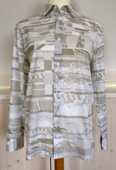 Hermes - Special blouse with typical Hermes images **no reserve price**