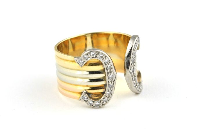 "Exclusive CARTIER  Iconic ""C"" Ring - Diamonds (total +/-0.40ct G/VS) set on ""Tri-color"" Pink, Yellow & White 18k Gold Ring - size 52"
