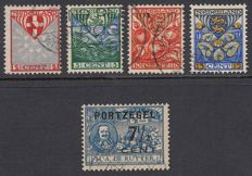 Netherlands 1907/1926 – De Ruyter postage due type II and Children's stamps with a vertical watermark – NVPH P37a + NVPH 199a/202a
