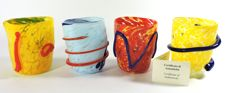 Murano - set of 4 goti for shots, with the application of polychrome details