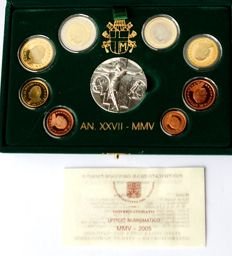 Vatican -- Euro 2005 Vatican, original KMS Vatican in case with medal, proof