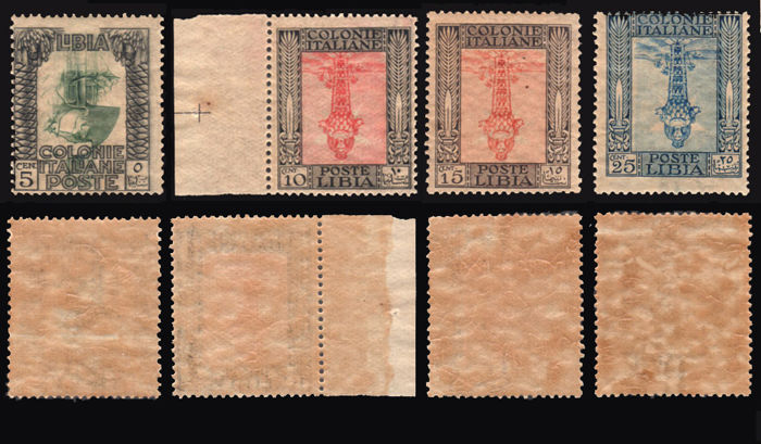 Libya 1921 – Italian Colonies, Pictorial with watermark, central elements upside down – Sassone No.  23c-26c