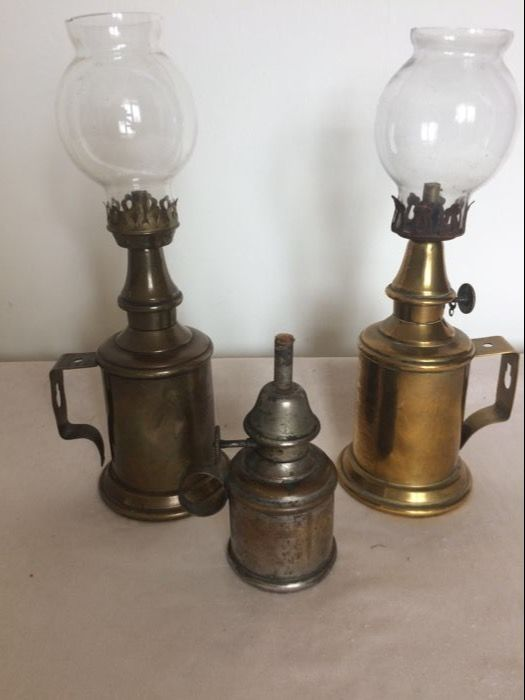 Three different and unique brass and bronze oil lamps. Circa. 1920 - France
