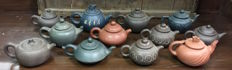 Lot of 12 Chinese Teapots from China Yixing - End of 20th century