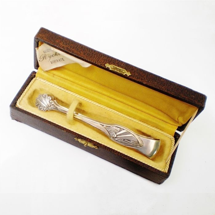 Silver plated tongs for sugar - Art Deco