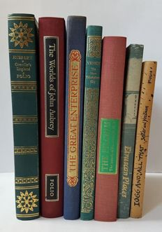 Folio society; Lot with seven books: The journeys of Della Valle, Etruscan Places, 1066 and all that, The worlds of John Aubrey, Greville's England , Venice, Spanish Armada - 1972/1990