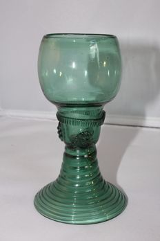 Green glass rummer, Holland, 18th century
