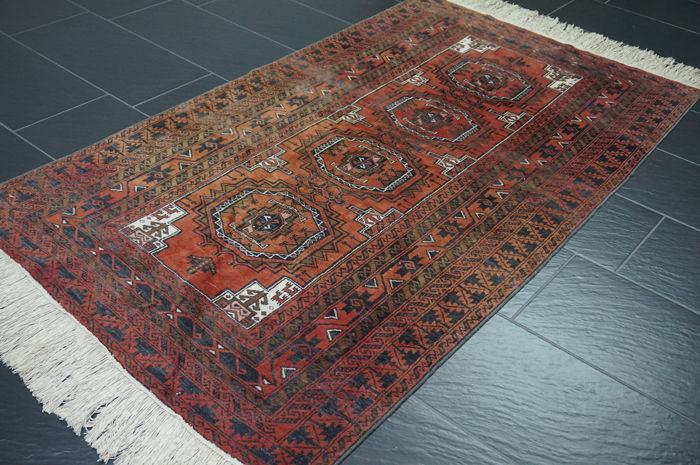 Old Afghan Art Deco oriental carpet, wool on wool, from Afghanistan 110 x 200 cm Old Rug Tapijt Tapis Antique