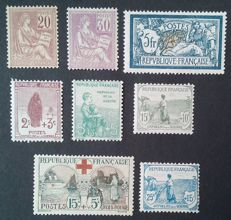 France 1900/1930 - selection of 8 stamps - Yvert 113, 115, 123, 148/51 and 156