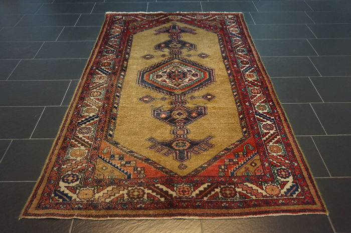 Old Persian carpet, Malayer Hamadan, 145 x 235 cm, natural colours, made in Iran