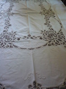 Old tablecloth with filet working