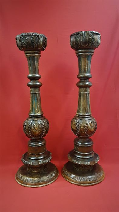 Two antique columns / pillars - height - 92 cm - Belgium - first half 20th century