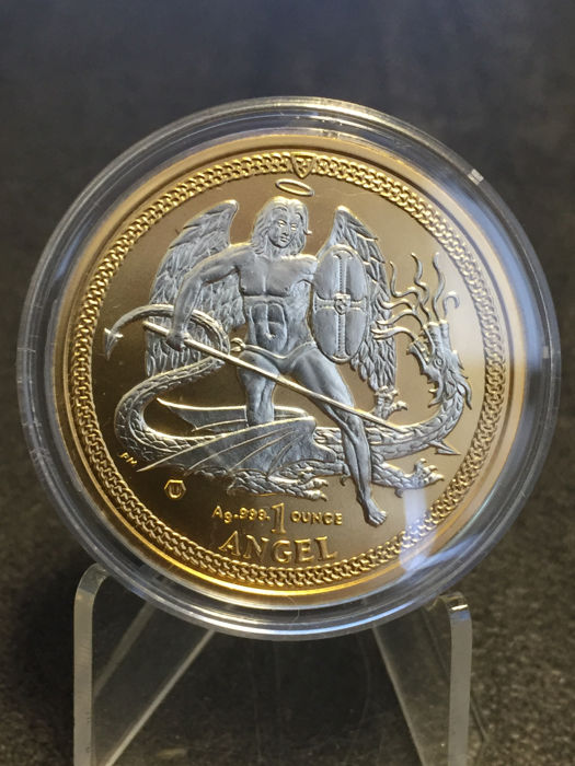 Isle of Man - 1 Angel, 2015,  'Archangel - Dragon Slayer' - Gilded Reverse - 1 oz 999 Silver