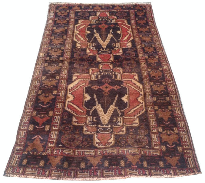 Amazing Afghan Hand Knotted Balouch Herati Area Rug 208 cm x 105 cm