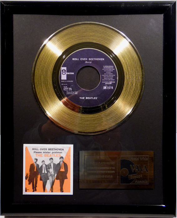 "The Beatles - Roll Over Beethoven -  7"" Single Odeon Records golden plated record by WWA Awards"