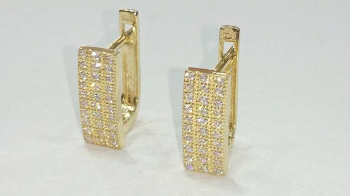 14 kt gold - In pavé style earrings