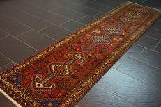 Old highly valuable -Persian carpet- -Qashqai runner- -Made in Iran- -80 x 300 cm-