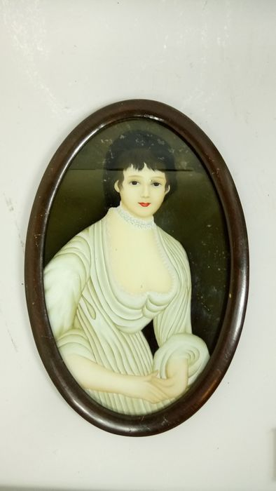 Victorian reverse glass painting of a lady