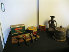 Lot of vintage pipes with old tobacco, copper tobacco box and ashtray