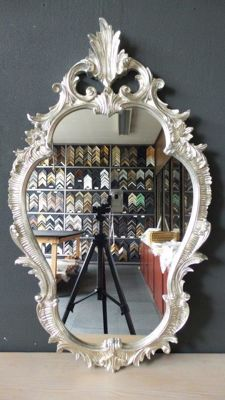 Large Venetian Crest Mirror - hand-gilded - silver