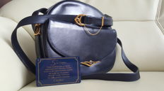 Cartier Sapphire bag in navy-blue leather.