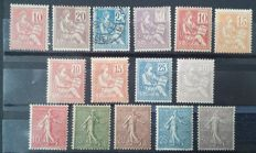 France 1900-03 – Lined Mouchon and Semeuse, Complete series – Yvert 112/118, 124/128 and 129/33