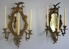 Two antique candle holders with mirrors, Rococo style - Germany - 19th century