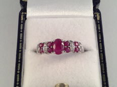 Vintage, white gold ring with natural ruby and diamond, Ring size: 16.75/52