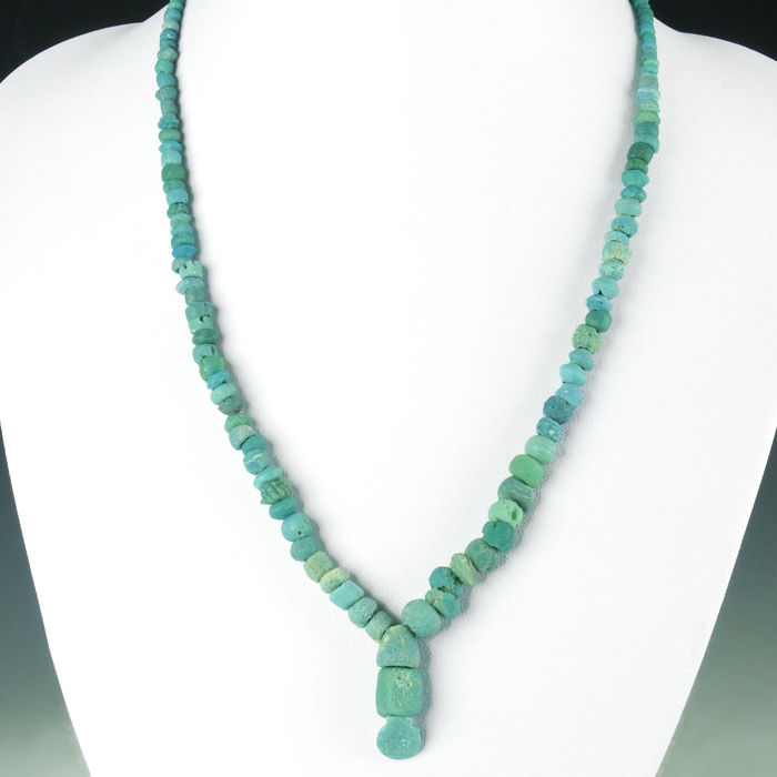 Necklace with Roman turquoise glass beads - 49 cm