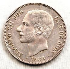 Spain – Alfonso XII – 5 Pesetas silver coin – 1882*18-82 – Madrid.