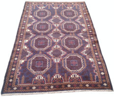 Semi Antique Afghan Hand Knotted Balouch Herati Area Rug 196 cm x 118 cm
