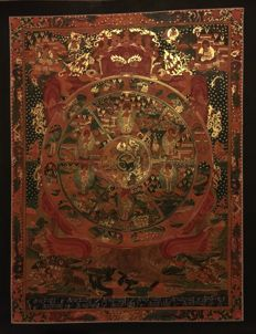 Handpainted Masterpiece Thangka painting, representing Wheel of life - Tibet/Nepal -  21st century