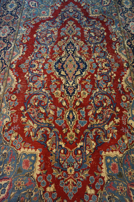 Exclusive hand-knotted Persian Palace carpet old flowers Lawer Kerman 190 x 340 cm carpet