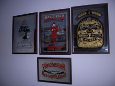 Lot of 4 advertsing framed mirrors. Black & White Whisky, Chivas Whisky, Dry Gin, Winchester.