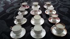 24 English cups and saucers + 1 milk jug