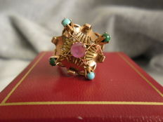 Gold ring with turquoise, ruby and jade
