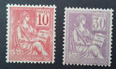 France 1900/01 – Mouchon type I, 10 c. pink and 30 c. violet – Yvert 112 and 115