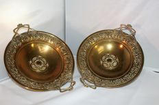 Set Jugendstil brass scales with floral designs