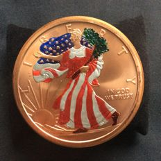 5 oz, Walking liberty, golden state mint, 999 fine copper coin, colour has been hand painted, collectors item U.S.A.